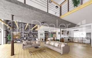 Loft apartment interior 3d rendering
