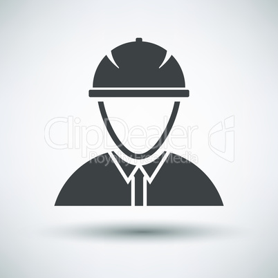 Construction worker head in hemlet  icon