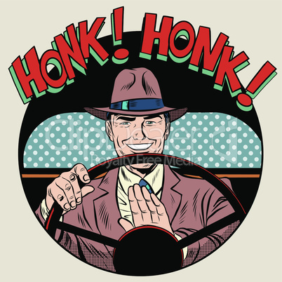 honk vehicle horn driver man