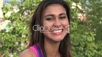 Adult Woman Laughing Outdoors