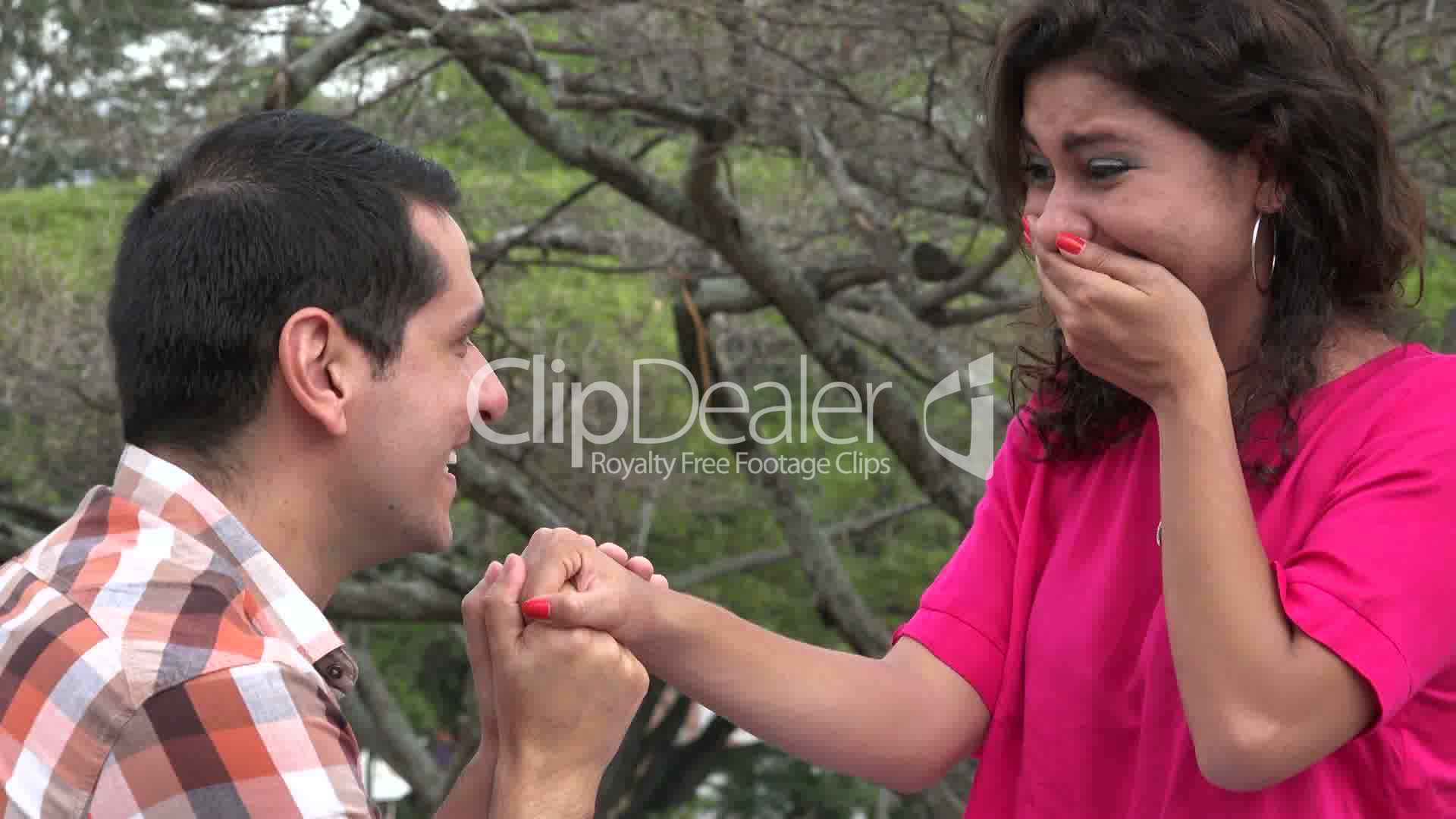 Woman Accepts Marriage Proposal: Royalty-free video and stock footage