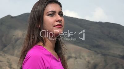 Happy Woman With Rhythm In Mountains