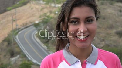 Happy Woman And Mountain Road Traffic