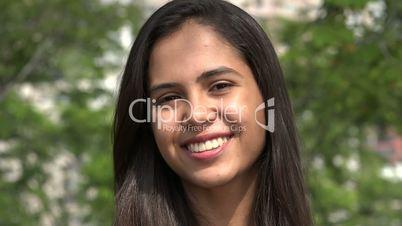 Smiling Teen Hispanic Girl during Summer