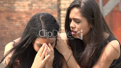 Teen Girl Crying with Friend