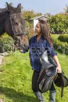 Beautiful Asian Eurasian Girl With Her Horse