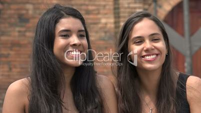 Teen Girls Laughing and Looking
