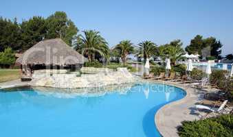 tropic bar with swimming pool