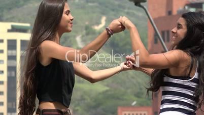 Teen Girls Dancing and Laughing