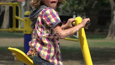 Young Boy Exercising on Sunny Day