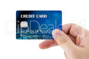 Hand holding plastic credit card