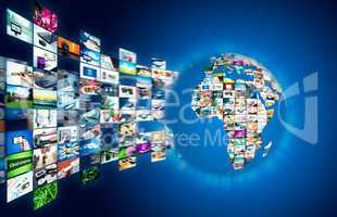 Television broadcast streaming multimedia. Earth globe compositi