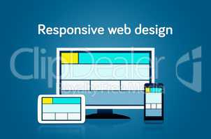 Responsive web design layout on different devices. Set on dark b