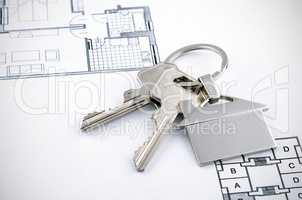 Keys and house chrome pendant with home shape