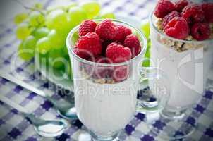 Glass of dessert with yoghurt, fresh berries and muesli