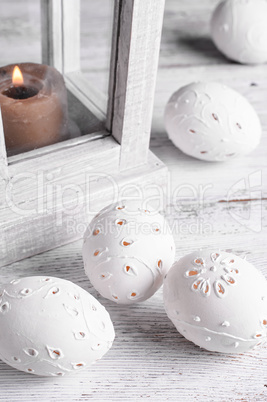 decor of carved eggs