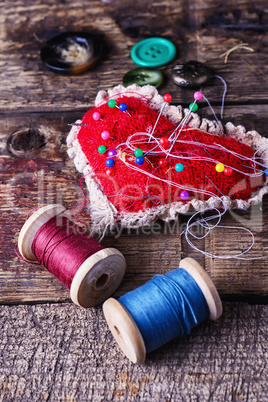 pin cushion with needles