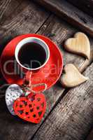 Cup with wooden hearts