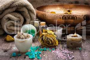 bronze bowl with water and accessories spa treatments