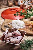 raw fillet of chicken meat