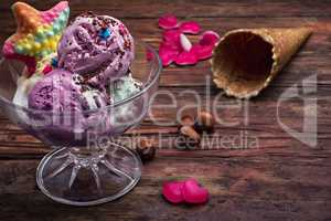 fruit ice cream in  bowl