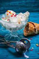 ice cream in  bowl and waffle cup