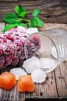 frozen ripe raspberry