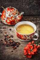porcelain cup of fragrant tea for medicinal herbs