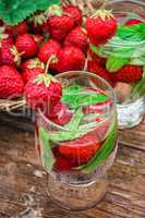 glass of refreshing strawberry cocktail