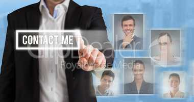 Composite image of businessman standing and pointing