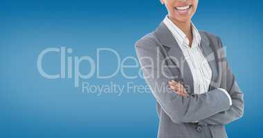Composite image of portrait of smiling businesswoman standing ar