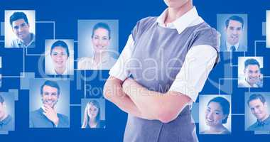 Composite image of portrait of serious businesswoman standing ar
