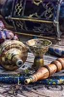 Hookah on  wooden table