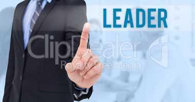 Leader against blue background