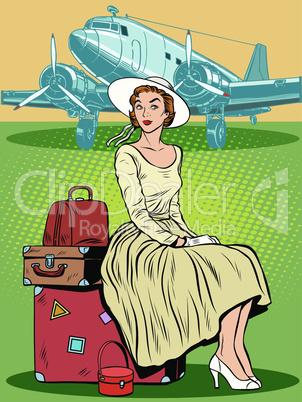 woman passenger airport baggage