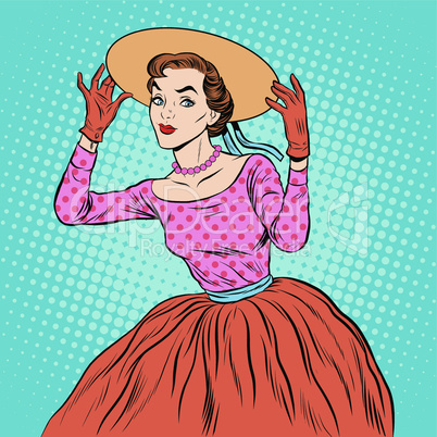 Flirty girl with a fashionable hat