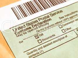 Customs declaration vintage