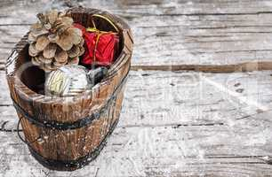 Christmas gift tub with decorations