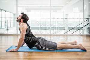 Handsome man on cobra pose on the mat