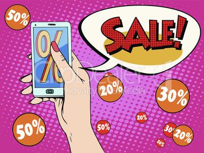 Discount online store smartphone app woman