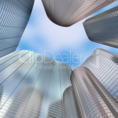 Skyscraper skyline, 3d