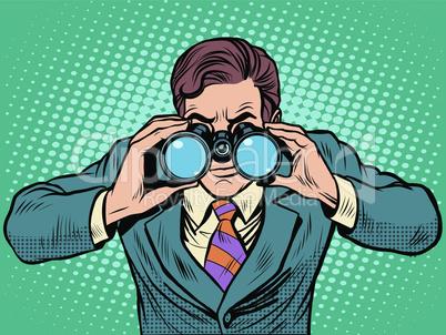 Businessman looking through binoculars. Lead vision Navigator