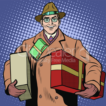 Joyful man with gifts holiday greetings