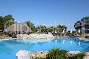 tropic bar and swimming pool