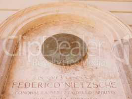 Nietzsche memorial plaque in Turin vintage