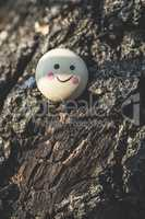 Smile icon miniature on tree
