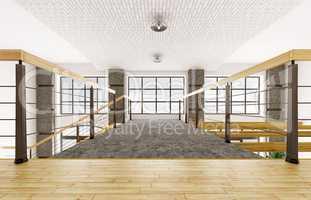 Interior of second floor of loft apartment 3d rendering