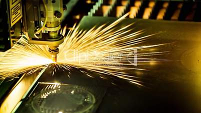 Metalworking CNC milling machine. Cutting metal modern processing technology.