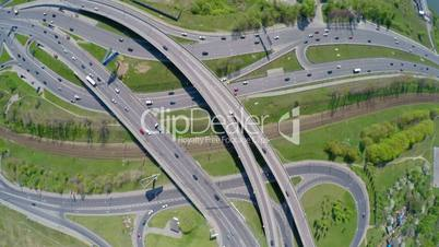 Aerial view of a freeway intersection. Shot in 4K (ultra-high definition (UHD))