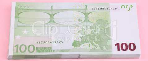 europe euros banknote of hundreds on pink